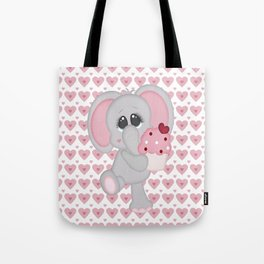 Baby Elephant Loves Cupcakes Tote Bag