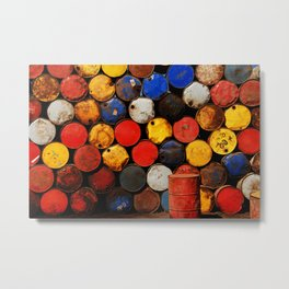 Gasoline Rusty Tin Cans Pattern Metal Print