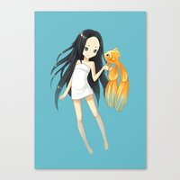 goldfish Canvas Prints featuring Goldfish by Freeminds