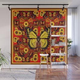 COFFEE BROWN MONARCH BUTTERFLY SUNFLOWERS Wall Mural