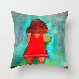 Lola with Flowers in Watercolors Throw Pillow