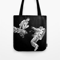 apollonia Tote Bags featuring asc 578 - La séparation (Cutting the cord) by From Apollonia with Love