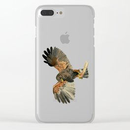 Hawk Flapping Wings Watercolor Painting Clear iPhone Case