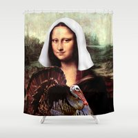 scott pilgrim Shower Curtains featuring Mona Lisa Thanksgiving Pilgrim  by Gravityx9