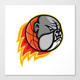 Bulldog Blazing Basketball Mascot Canvas Print