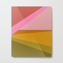 Colorful Geometric Abstract in Pink, Mustard, and Green Metal Print