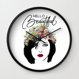 Hello Beautiful Woman and Flower Crown Wall Clock