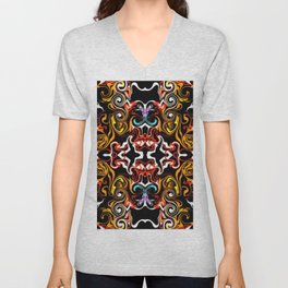 psychedelic Pattern red orange and gold Unisex V-Neck