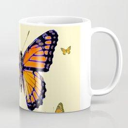 SPRING FLYING ORANGE MONARCH BUTTERFLIES ON CREAM Coffee Mug