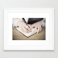 write Framed Art Prints featuring WRITE by Marte Stromme