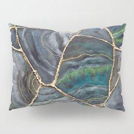 Blue Green Agate Kintsugi Art Pillow Sham
