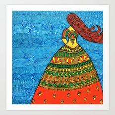 By The Sea madhubani painting Art Print