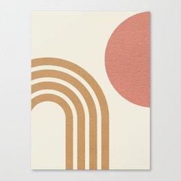 Mid century modern pink Sun & Rainbow Canvas Print
