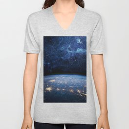 Earth and Galaxy Unisex V-Neck