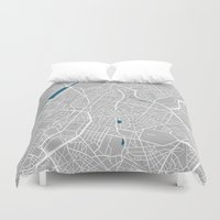 brussels Duvet Covers featuring Brussels city map grey colour by MCartography