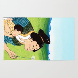 Mrs Hokusai Blows A Dandelion For The Baby Rug