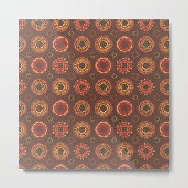 Retro Red Polynesian Floral Mandala Pattern Metal Print