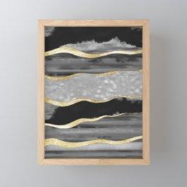 Black Gray White Agate Gold Stripe Glam #1 #gem #decor #art #society6 Framed Mini Art Print