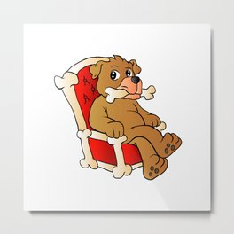 dog sitting on the throne Metal Print
