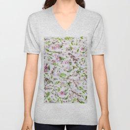 Leaves and flowers pattern (26) Unisex V-Neck