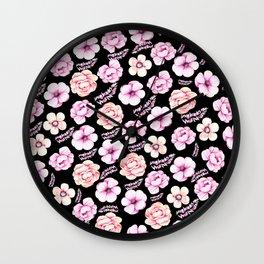 Watercolor coral pink black tropical floral Wall Clock