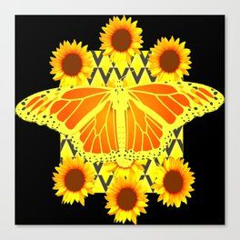 SUNFLOWERS & MONARCH BUTTERFLY BLACK GRAPHIC Canvas Print