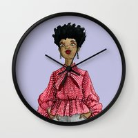 fancy Wall Clocks featuring Fancy by Coily and Cute