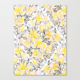Sunny Yellow Crayon Striped Summer Floral Canvas Print