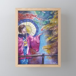 Japanese girl in kimono, Forest watercolor painting Framed Mini Art Print