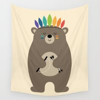 brave Wall Tapestries featuring Be Brave by Andy Westface