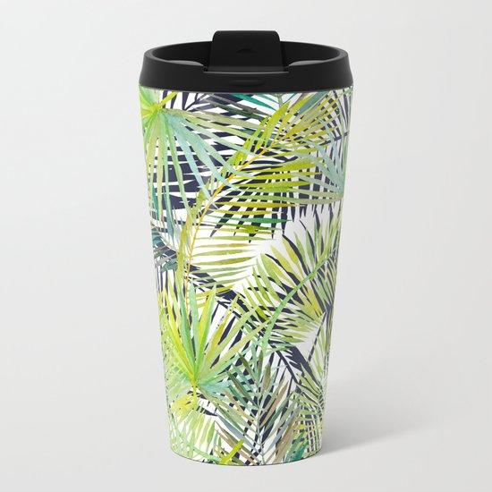 Tropical Frond Pattern Metal Travel Mug