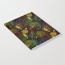 Jungle Pattern with Monkeys, Macaws and colorful Dart Frogs Notebook