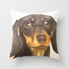 Dachshund portrait (Commissioned portrait - original sold) Throw Pillow