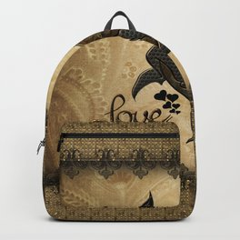 Wonderful elegant steampunk heart with butterflies Backpack