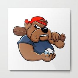 fat bulldog baseball player Metal Print