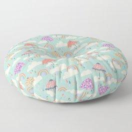 Happy Spring Showers - Aqua Floor Pillow