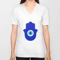 evil eye V-neck T-shirts featuring Evil Eye by Marcaccini Studios