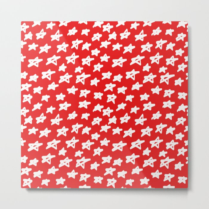 Stars on red background Metal Print