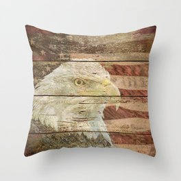 Rustic Bald Eagle Bird American Flag Patriotic Country Art A167 Throw Pillow