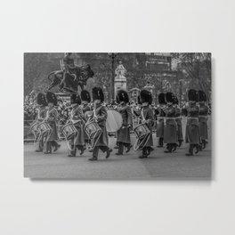 Welsh Guard Fife and Drum during the Changing of the Guard London England Black and White Metal Print
