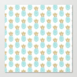 Elegant faux gold pineapple pattern Canvas Print