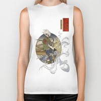 kakashi Biker Tanks featuring Woodblock Kakashi by Sempaiko