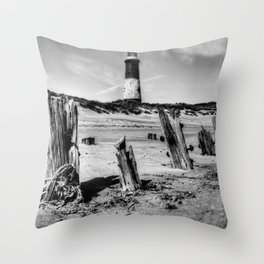 Spurn Point Lighthouse and Groynes Throw Pillow
