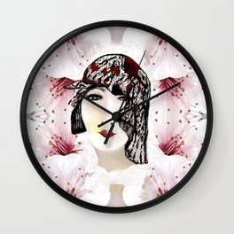 Floral 40's Queen on White,Burgundy and Black Wall Clock