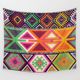 Aztec Artisan Tribal Bright Wall Tapestry
