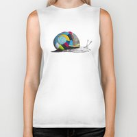 snail Biker Tanks featuring Snail by Sary and Saff