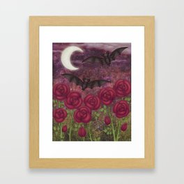 bats and roses Framed Art Print