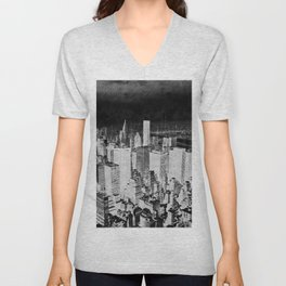 New York city line drawing Unisex V-Neck