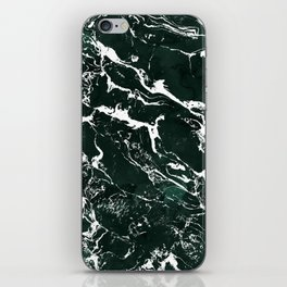 Dark green forest watercolor white marble christmas pattern iPhone Skin