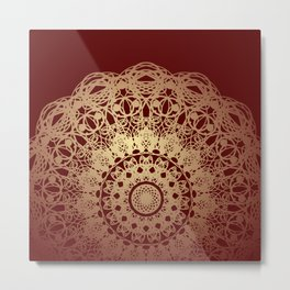 Mandala Flower Burgundy and Cream Metal Print